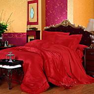 billige Kinesiske røde dynetrekk-Sengesett Blomstret 4 deler Polyester/Bomull Mønstret Polyester/Bomull 1stk Dynetrekk 2stk Trekk 1stk Flatt Laken
