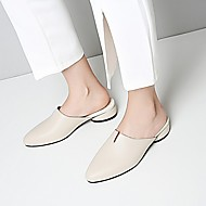 cheap Women's Shoes-Women's Shoes Cowhide Spring Summer Comfort Clogs & Mules Low Heel Pointed Toe for Casual White Black Beige Pink