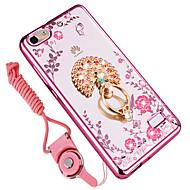 billiga Mobil cases & Skärmskydd-fodral Till Huawei Honor 6C Pro Stötsäker Strass Ringhållare Skal Blomma Mjukt TPU för Huawei Honor 4C