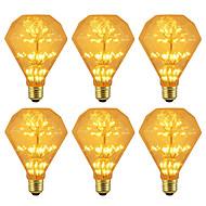 billige Globepærer med LED-BRELONG® 6pcs 3W 300lm E26 / E27 LED-globepærer 47 LED perler SMD Stjernefull Dekorativ Gul 220-240V