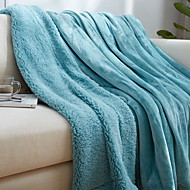 billiga Filtar och plädar-Korallfleece, Kviltat Enfärgad Bomull/Polyester Polyester filtar