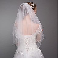Two-tier Modern Style Bridal Princess Simple Style Wedding Wedding Veil Elbow Veils 53 Fringe Splicing Tulle