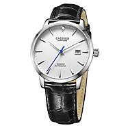 CADISEN Erkek Moda Saat Elbise Saat Japonca Otomatik kendi hareketli Gerçek Deri Siyah / Kahverengi 50 m Su Resisdansı Takvim Gündelik Saatler Analog Klasik Moda Zarif - Siyah / Beyaz Beyaz / Altın