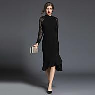 女性用 祝日 ストリートファッション スリム マーメイド/トランペット ドレス - ラッフル, ソリッド ミディ タートルネック