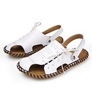 זול -בגדי ריקוד גברים נעליים עור קיץ נוחות סנדלים ל קזו'אל בָּחוּץ לבן שחור