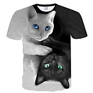 Heren T-shirt Geometrisch Ronde hals Zwart XXL / Korte mouw / Zomer