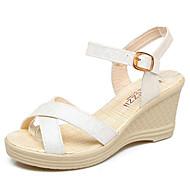 baratos Sapatos Femininos-Mulheres Calcanhares Couro Ecológico Verão Conforto Sandálias Salto Plataforma Branco / Roxo / Azul
