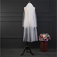 Duas Camadas Clássico Véus de Noiva Véu Cotovelo Com Franja Tule
