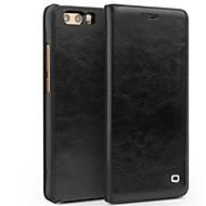 billiga Mobil cases & Skärmskydd-fodral Till Huawei Honor V9 Play Honor V9 Korthållare Stötsäker Lucka Fodral Ensfärgat Hårt Äkta Läder för Honor 9