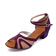 baratos Sapatilhas de Dança-Mulheres Sapatos de Dança Latina Glitter / Sintético Sandália Diamante Acrilico Salto Robusto Personalizável Sapatos de Dança Roxo Escuro