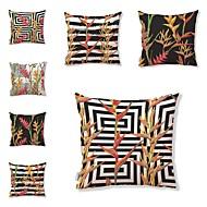baratos Almofadas de tiro-7 pçs Téxtil Algodão/Linho Cobertura de Almofada, Estampado Art Deco Floral Estampado Tropical