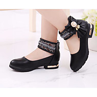 cheap Girls' Shoes-Girls' Shoes PU Spring Fall Tiny Heels for Teens Comfort Heels for Casual White Black Pink