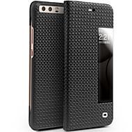 billiga Mobil cases & Skärmskydd-fodral Till Huawei P10 Plus P10 Lite Stötsäker med fönster Lucka Fodral Ensfärgat Hårt Äkta Läder för P10 Plus