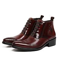 baratos Sapatos Masculinos-Homens Pele Outono / Inverno Conforto / Coturnos Botas Botas Curtas / Ankle Preto / Vinho
