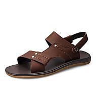 זול -בגדי ריקוד גברים נעליים דמוי עור אביב קיץ נוחות סנדלים ל קזו'אל שחור חום