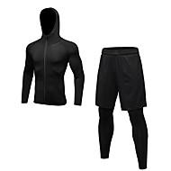 Muškarci Activewear Set Dugih rukava / Dugo Pant Prozračnosti Kompleti odjeće za Trčanje / Fitness Poliester Crn / Siva / Tamno mornarice