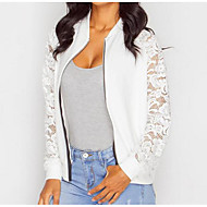 cheap -Women's Daily Spring Regular Jacket, Solid Colored Round Neck Long Sleeve Cotton Lace White / Black M / L / XL