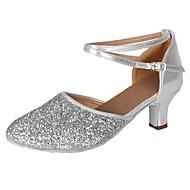 billige Moderne sko-Dame Moderne Paljett Kunstlær Høye hæler Fest Trening Spenne Kubansk hæl Sølv 2 - 2 3/4 Kan spesialtilpasses