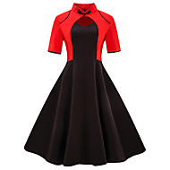Women's Plus Size Daily Going out Vintage Basic Slim Sheath Dress - Color Block Black & Red V Neck Summer Black Red XXL XXXL XXXXL