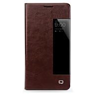 billiga Mobil cases & Skärmskydd-fodral Till Huawei Mate 10 lite Mate 10 Stötsäker med fönster Lucka Fodral Ensfärgat Hårt Äkta Läder för Mate 10