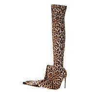 tanie Obuwie damskie-Damskie Obuwie Materiał do wyboru Jesień Zima Modne obuwie Buciki Szpilka Pointed Toe Udo wysokiej Boots na Ślub Impreza / bankiet Leopard