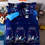 billiga Påslakan-Påslakan Sets Tecknat Polyester / Bomull Blandning Reaktiv Tryck 4 delar