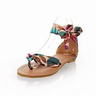 baratos Sapatos Femininos-Mulheres Sapatos Seda Primavera / Verão Conforto / Gladiador Sandálias Sem Salto Dedo Aberto Amarelo / Fúcsia / Azul