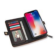 billiga Mobil cases & Skärmskydd-fodral Till Apple iPhone X Plånbok / Korthållare / med stativ Fodral Ensfärgat Hårt PU läder för iPhone X