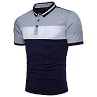 남성용 컬러 블럭 셔츠 카라 베이직 - Polo, 활동적 면 블랙&화이트 루비 XL / 짧은 소매 / 여름