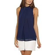 Жен. Классический Блуза Воротник-стойка Уличный стиль Однотонный Синий M / Лето