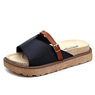 cheap -Women's PU(Polyurethane) Summer Comfort Slippers & Flip-Flops Flat Heel Round Toe White / Black / Beige
