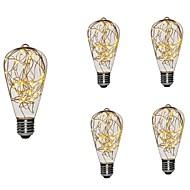 Χαμηλού Κόστους LED Λάμπες με Νήμα Πυράκτωσης-5pcs 3 W 300 lm E26/E27 LED Λάμπες Πυράκτωσης ST64 25 leds Ενσωματωμένο LED Έναστρος Διακοσμητικό Θερμό Λευκό 85-265V