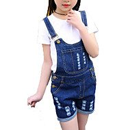 Pige Tøjsæt Daglig Ferie Ensfarvet Stribet Trykt mønster, Bomuld Polyester Forår Sommer Kortærmet Simple Aktiv Hvid Sort