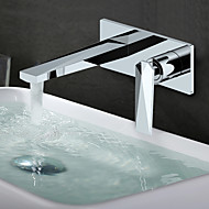 cheap Bathroom Sink Faucets-Contemporary Wall Mounted Widespread Ceramic Valve Single Handle Two Holes Chrome, Bathroom Sink Faucet