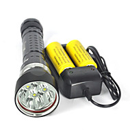cheap Flashlights & Camping Lanterns-LED Flashlights / Torch Diving Flashlights/Torch Handheld Flashlights/Torch LED 8000lm lm 4 Mode LED Professional Anti-Shock Waterproof