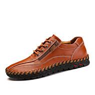 baratos Sapatos Masculinos-Homens Pele Napa / Pele Primavera / Outono Conforto Tênis Caminhada Laranja / Marron / Azul