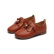 cheap Girls' Shoes-Girls' Shoes PU Leather Spring Summer Comfort Flats Rivet Flower for Casual Dress Brown Red Pink