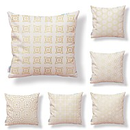billige Putevar-6 stk Tekstil Bomull/Lin Putecover, Trær / Blader Trykt mønster Art Deco Mønster Tropisk