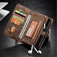 billiga Mobil cases & Skärmskydd-fodral Till Apple iPhone X Plånbok / Korthållare / Stötsäker Fodral Ensfärgat Hårt Äkta Läder för iPhone X