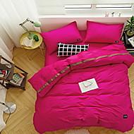 tanie Solid Duvet Okładki-Zestawy kołdra okładka Jendolity kolor 3 elementy Poly / Cotton Przędza barwiona Poly / Cotton 1szt kołdrę 1szt Sham 1szt Flat Sheet