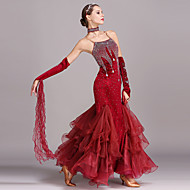 ריקודים סלוניים שמלות בגדי ריקוד נשים הדרכה הצגה קטיפה קריסטלים / אבנים נוצצות ללא שרוולים גבוה שמלה צמיד Neckwear