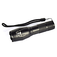 billige -LED Lommelygter LED 2000lm 1 Lys Tilstand Camping / Vandring / Grotte Udforskning / Dagligdags Brug / Cykling Sort