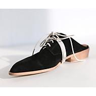 Mujer Zapatos Cuero de Napa Verano Confort Zuecos y pantuflas Tacón Cuadrado Punta cerrada Negro / Marrón / Almendra w3WDiGM