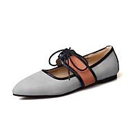 abordables Chaussures Plates pour Femme-Femme Chaussures Cuir Nubuck Printemps / Automne Nouveauté Ballerines Talon Plat Bout pointu Noir / Gris / Rose