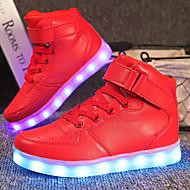 tanie Obuwie chłopięce-Dla chłopców / Dla dziewczynek Obuwie PU Jesień Wygoda / Świecące buty Adidasy Sznurowane / Haczyk i pętelka / LED na Czerwony / Niebieski / Różowy