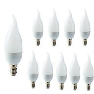 billige Stearinlyslamper med LED-10pcs 2W 200lm E14 LED-lysestakepærer C35L 10 LED perler SMD 2835 Dekorativ Varm hvit Kjølig hvit 220-240V