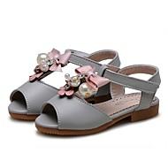 baratos Sapatos de Menina-Para Meninas Sapatos Courino Primavera Verão Conforto Rasos Flor de Cetim / Flor para Bege / Cinzento / Rosa claro