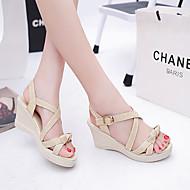 baratos Sapatos Femininos-Mulheres Calcanhares Couro Ecológico Primavera / Verão Conforto Sandálias Salto Plataforma Dedo Aberto Laço Verde / Amêndoa