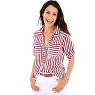 Mulheres Camisa Social Fofo Moda de Rua Listrado Estampa Colorida