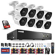 levne Sady videorekordérů-annke® 8ch bezpečnostních systémů dvr s harddisky 3mp hd 1tb 8pcs cctv kamery